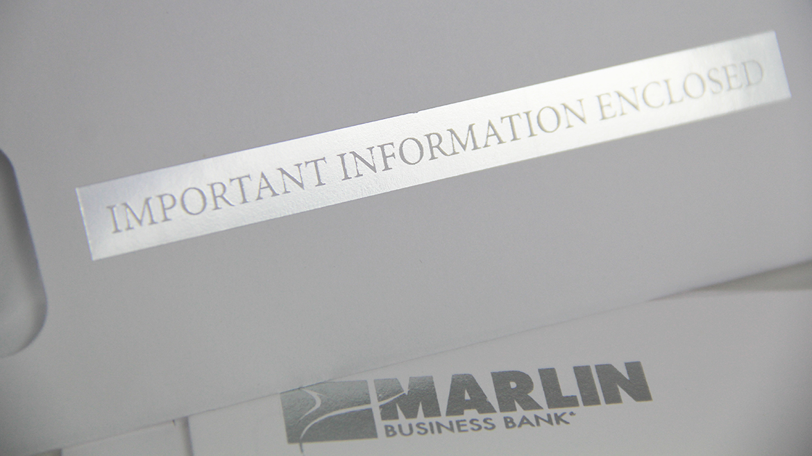 Financial printing Marlin envelope silver