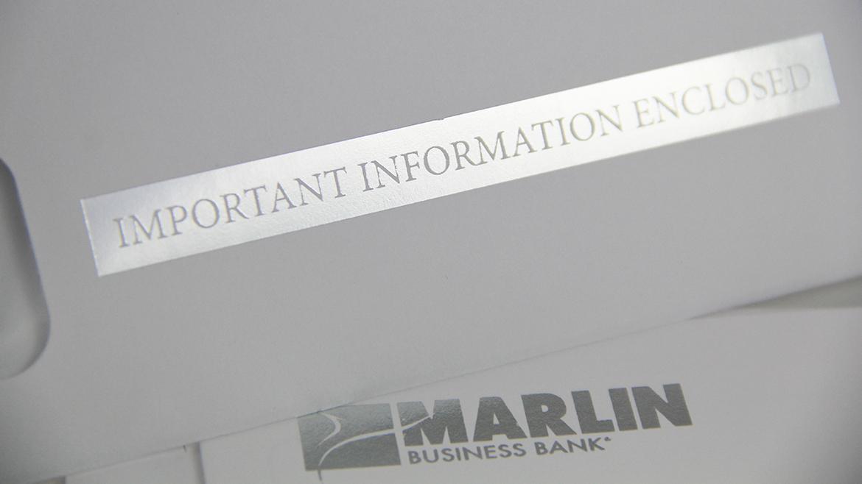Financial printing Marlin envelope silver