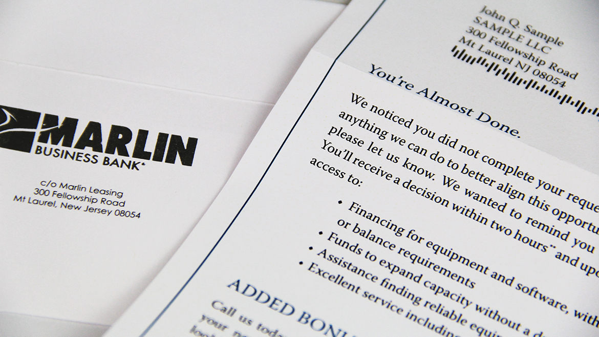 Financial printing Marlin letter