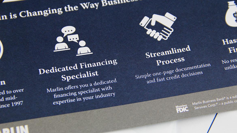 Financial printing Marlin postcard