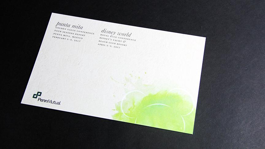 Foil stamp postcard reverse side