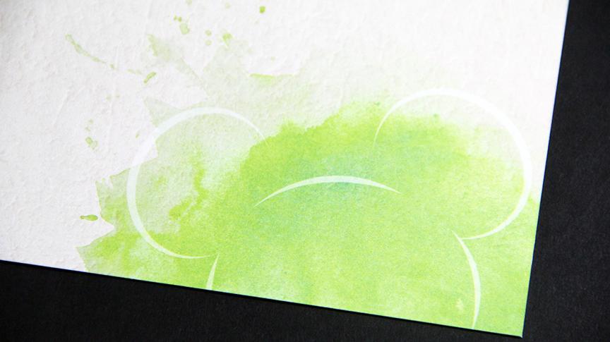 Foil stamp postcard close up