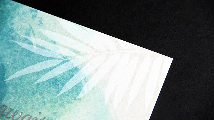Foil stamp postcard leaf
