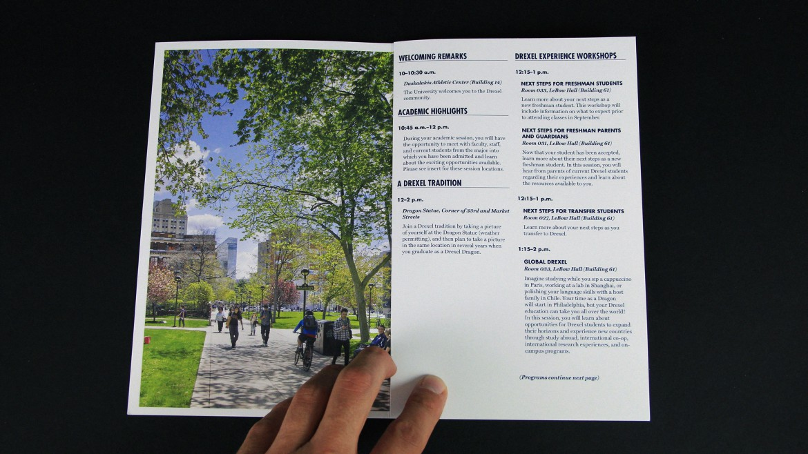 admissions brochure Drexel spread