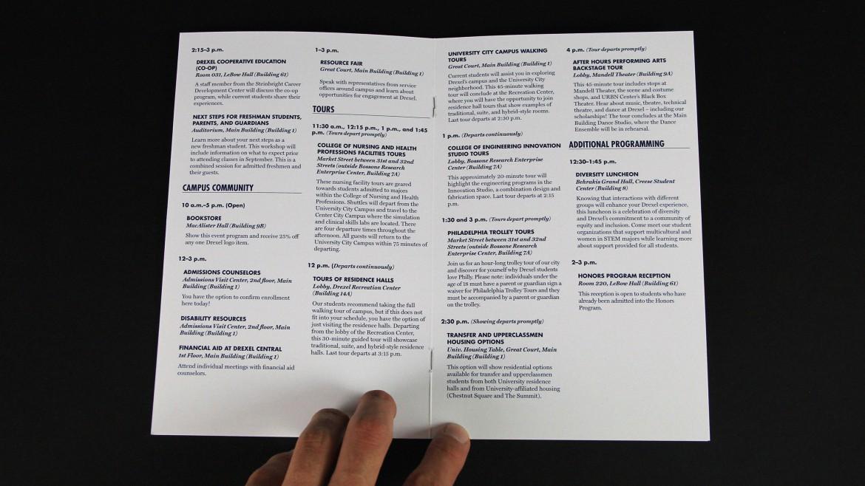 admissions brochure Drexel open